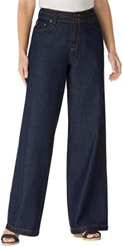 Women's Plus Size Petite Wide Leg 100 Cotton Jean