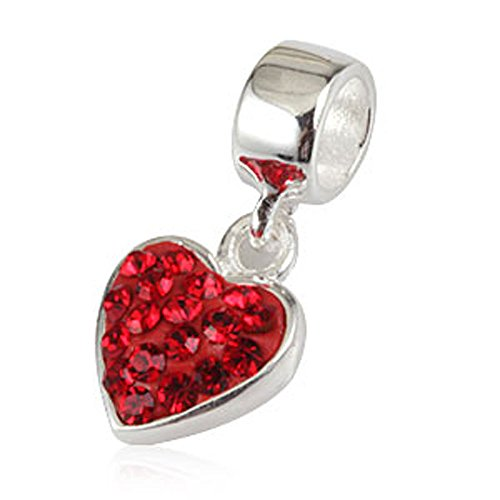 Crystal Austrian Love - Ollia Jewelry 925 Sterling Silver Dangle Beads My Heart Swayed in Your Breeze Charm with Austrian Crystals Heart Love Charms (red)