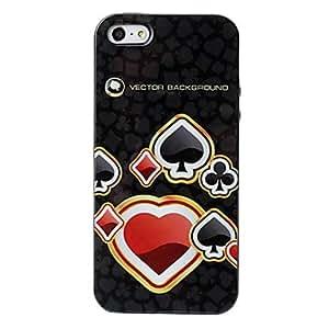 CL - Lindo poker textura patrón TPU caso suave corazones de 5/5s iphone