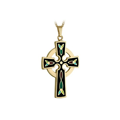 Tara Celtic Cross Necklace Gold 18K Plated & Black Enamel Made in Ireland