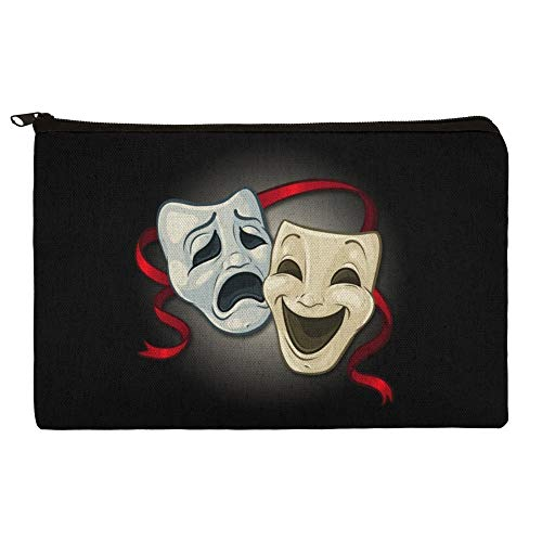 Drama Comedy Tragedy Masks Theater Makeup Cosmetic Bag Organizer Pouch