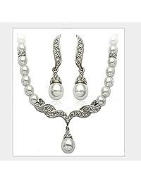 Bella Bridal Drop Cream Bead&Artificial Zircon Bridal Necklace&Earring Jewelry Pearl jwelery Sets