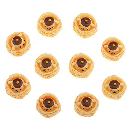 NATFUR Lot 10pcs Mini Bear Egg Tart Dolls House Miniature Sweet Food 1:12th from NATFUR