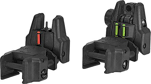 Evike Dual-Profile Rhino Fiber Optic Flip-up Rifle/SMG Sight for Airsoft - Front and Rear Sights (Color: Black) by Evike