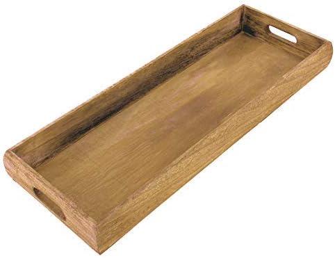 Spetebo Echtholz Deko Tablett 54x20 Cm Holz Kerzentablett Serviertablett Holztablett Amazon De Küche Haushalt