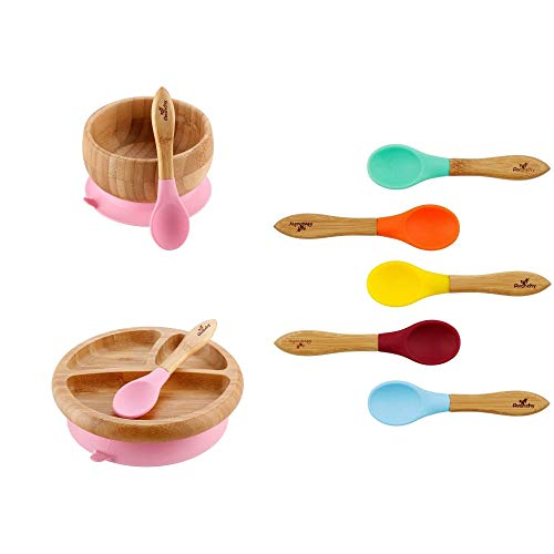 Baby Bambu Bamboo - Rainbow Gift Set Pink - Baby Shower, Baby Registry, Home Set & More. Baby Girl, Baby Boy, Unisex. Baby Bowl Set + Baby Plate Set + Assorted Baby Spoons Set. FDA Approved BPA Free