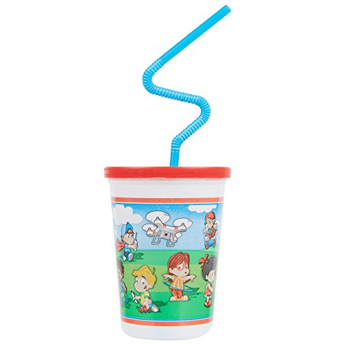 Plastic Kid's Cups with Reusable Lids and Crazy Straws - 20 (Crazy Lids)