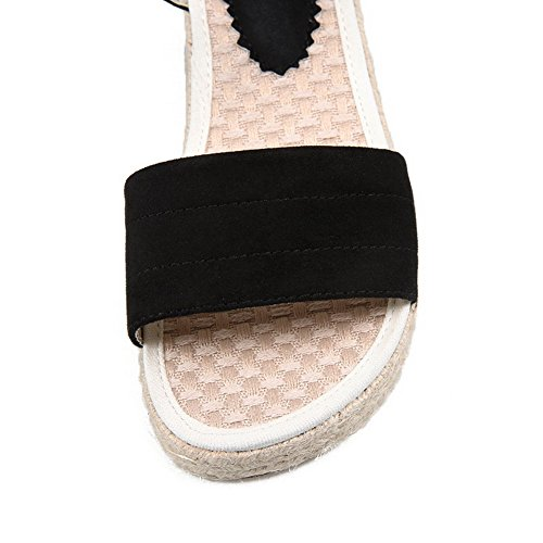 Black MJS02949 Suede Platform Buckle Toe Peep Womens Flats Shoes 1TO9 Z6qvw