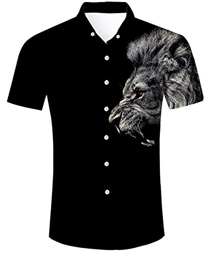 TUONROAD Men Casual Tropical Vacation Aloha Short Sleeve Hawaiian Shirt Solid Color Black Button Down Shirt Hawaiian ()