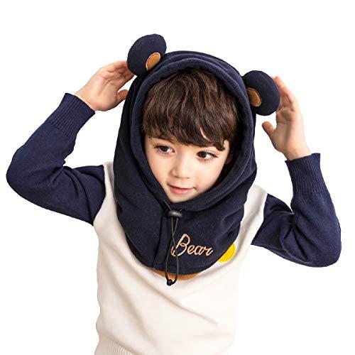 Azarxis Kids Balaclava Ski Mask Full Face Neck Warmer Caps Hat Hood Fleece Wind Protector Cute Animal Windproof Thermal Winter Wear Gear for Boys Girls Children (Navy Blue - Little Bear)