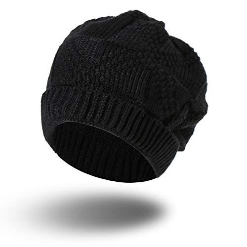 PASATO Men Women Keep Warm Knit Baggy Beanie Oversize Winter Hat Ski Simple and Versatile Slouchy Chic Cap (Black,Free Size)