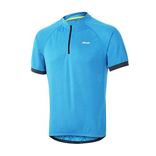 ARSUXEO Men's Cycling Jerseys Short Sleeves MTB Bike Shirt 635 Blue Size Large - Mtb Bike Jersey