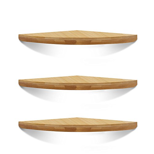 XiaZ Corner Shelves Set of 3 Wall Mount Floating Shelf, Radial Round Edging Bamboo Storage Shelf Organizer Corner for Bedroom, Living Room, Kitchen, Office and More ()