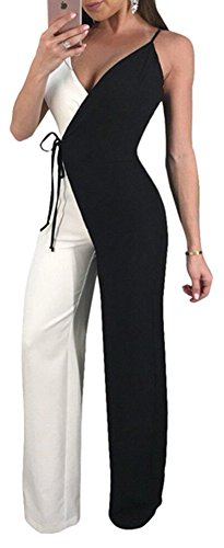 Speedle Women Sexy Spaghetti Strap Black White Wrap Wide Leg Pants Jumpsuits Romper S (Wrap Jumpsuit)