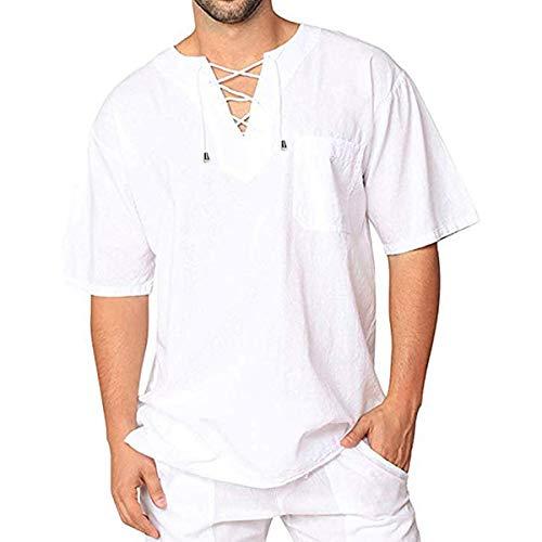(Men's Linen T Shirts Cotton Casual Hippie Shirt V-Neck Drawstring Long Sleeve Beach Yoga Top (White Short Sleeve, XL))