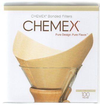 Chemex Bonded Unbleached Pre-folded Square Coffee Filters, 100 Count