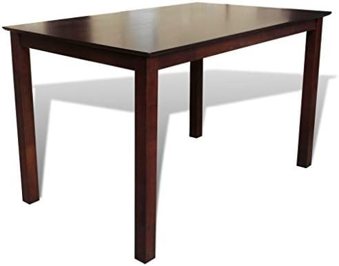 vidaXL Mesa de comedor de madera maciza, 110 cm, Marrón Mueble de ...