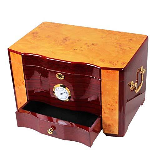 Cigar Humidors Cigar Box - High Grade Glossy Piano Finish Wood Cigar Humidor Cabinet Large Capacity Double Layer Storage Box withLock Hygrometer Humidifier (Color : Brown)