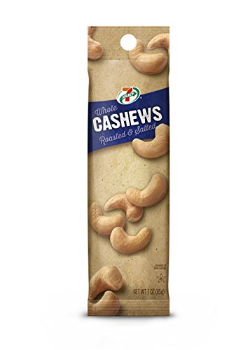 7-Select Whole Cashews, Roasted and Salted, 3 Ounce Single Serve Bag, Pack of 6