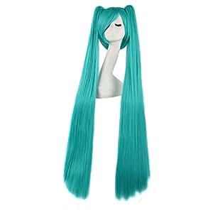 Vocaloid Miku Hatsune wig 120cm Cosplay Wig Two Ponytails (peluca)