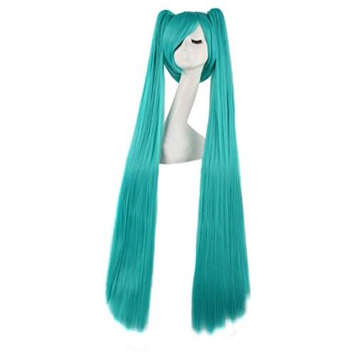 MapofBeauty 120cm Beautiful Long Straight Cosplay Wig (Mixed Cyan) - Miku Hatsune Cosplay Costume