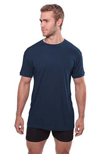 TexereSilk Crew Neck Undershirt For Men - Luxury Shirt In Bamboo Viscose (Midnight Blue, Large/Tall) Great Birthday Anniversary Gifts For Guys MB6001-MID-LT