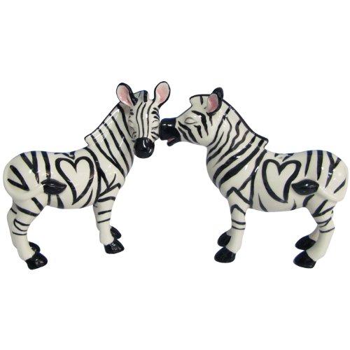 Westland Giftware Mwah Magnetic Zebras Salt and Pepper Shaker Set, 3-1/2-Inch (Zebra Kitchen Decor compare prices)