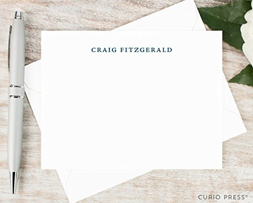 SIMPLICITY – Personalized Flat Stationery Set – Professional Monogrammed Simple Business Note Cards, Custom Thank You Cards, Notecards and Envelopes, …