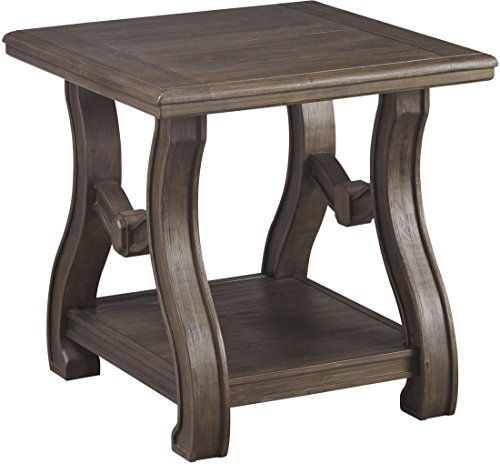 Pine Traditional End Table - Ashley Furniture Signature Design - Tanobay Traditional Square End Table - Gray