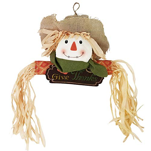 WEWILL Fall Harvest Scarecrow Decor Halloween Thanksgiving Hanging Wall Door Decoration, Give Thanks Sign(Boy) -