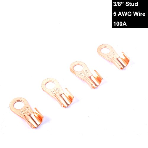 100a Wire (Copper Battery Terminal Lugs Kit End Connection Upto 5AWG Wire 3/8