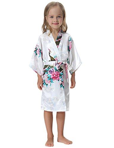 Aibrou Girls  Peacock Satin Kimono Robe Bathrobe Nightgown for Party Wedding 030d1aba7