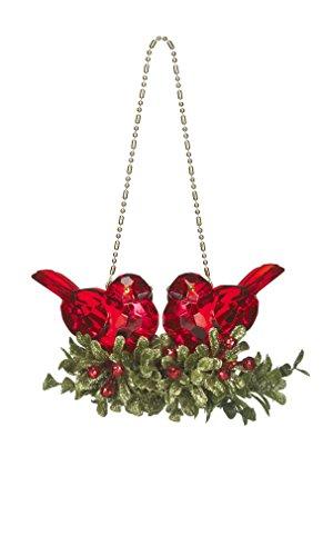 "Ganz 5"" Kissing Kyrstal Ball Ornament, Double Cardinal Bi..."