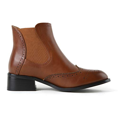 Nincyee Chelsea Style Women's Boots Girls Classic Brogues College Smooth Brown Leather Ankle xff6r7
