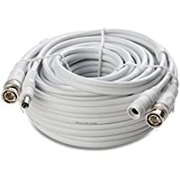 SyncArrow Premium PRO-Grade 1080P HD Premade 2-In-1 Multi-Purpose Fire-Rated Double Shielded BNC Video Power Extension Cord CCTV Combo Coaxial Cable with BNC RCA (PRO-8M2W, 25 feet, White)