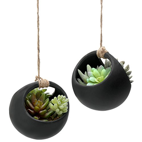 Round Twine (MyGift Modern Black Ceramic 5-Inch Round Hanging Planter Pots with Jute Twine Rope, Set of 2)