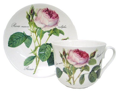 Roy Kirkham Redoute Rose Chatsworth Cup & Saucer in Fine Bone China