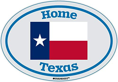 WickedGoodz Oval Texas Home Vinyl Decal State Flag Bumper Sticker Perfect Vacation Gift