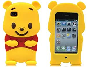 Otterca Yellow Disney Winnie The Pooh Bear soft silicone Case Cover fit for the iphone 4/4S With Stylus