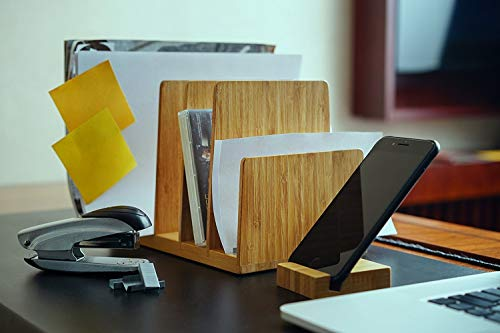 Kenley Desktop Organizer - Bamboo Wood File & Folder Sorter - Desk Tray with 5 Vertical Sections & Phone Holder - Storage Shelf Rack Stand for Office Supplies Binders Letters Paper Documents Magazines