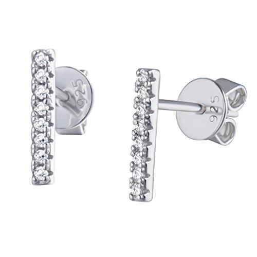 Diamond Vertical Bar Earrings (S.Leaf Minimalist CZ Diamond Bar Earrings Sterling Silver Vertical Bar Stud Earrings)