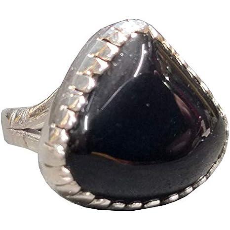 Black Hakik Healing Crystal Ring in Sterling Silver Agate