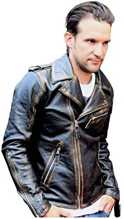 Mens Marlon Brando Biker Motorcycle Vintage Distressed Brown Leather Jacket