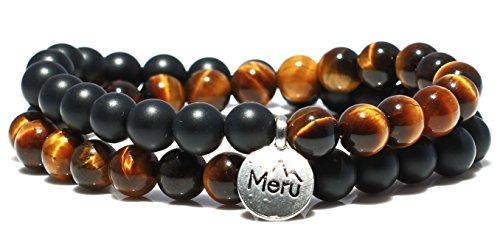 X-Large Tiger's Eye Yellow & Matte Onyx Wrap Bracelet for Men - Tigers Eye Yellow Bracelet - Onyx Bracelet for Men - Tigers Eye Wrap Bracelet by MeruBeads (Image #5)