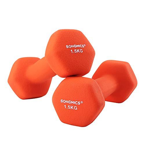 SONGMICS SYL63OG, set van 18 halters, korte halters, gymnastiekhalters, vinyl, 2 x 1,5 kg, oranje, 7 x 15 cm