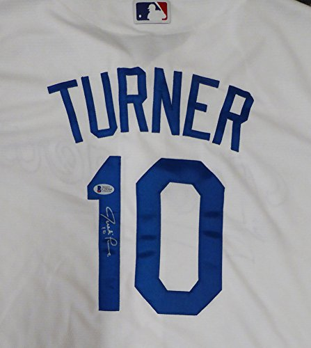 Los Angeles Dodgers Justin Turner Autographed Signed White Majestic Cool Base Jersey Size L - Beckett BAS Certified
