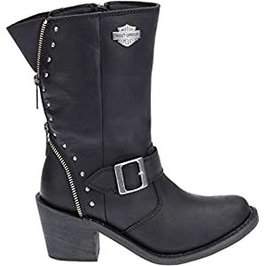 Harley-Davidson Women's Rosanne 8-Inch WP Motorcycle Boots D87127 (Black, 8)