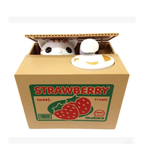 Cute Stealing Coin Money Box Piggy Bank, Mischief Savings Box, Strawberry Cat by BLHB
