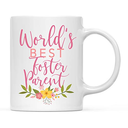 Andaz Press 11oz. Coffee Mug Gag Gift, Foster Parent, Pink Floral Design, 1-Pack, Beautiful Unique Flower Cup Birthday Christmas Present Ideas for Her Women Wife Sister