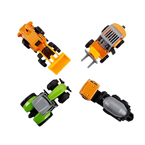 SGYH 1:64 Miniature Model Trucks Alloy Engineering Vehicles Pull Back Car Dump Truck Excavator 4-Pack (#A) from SGYH Dollhouse